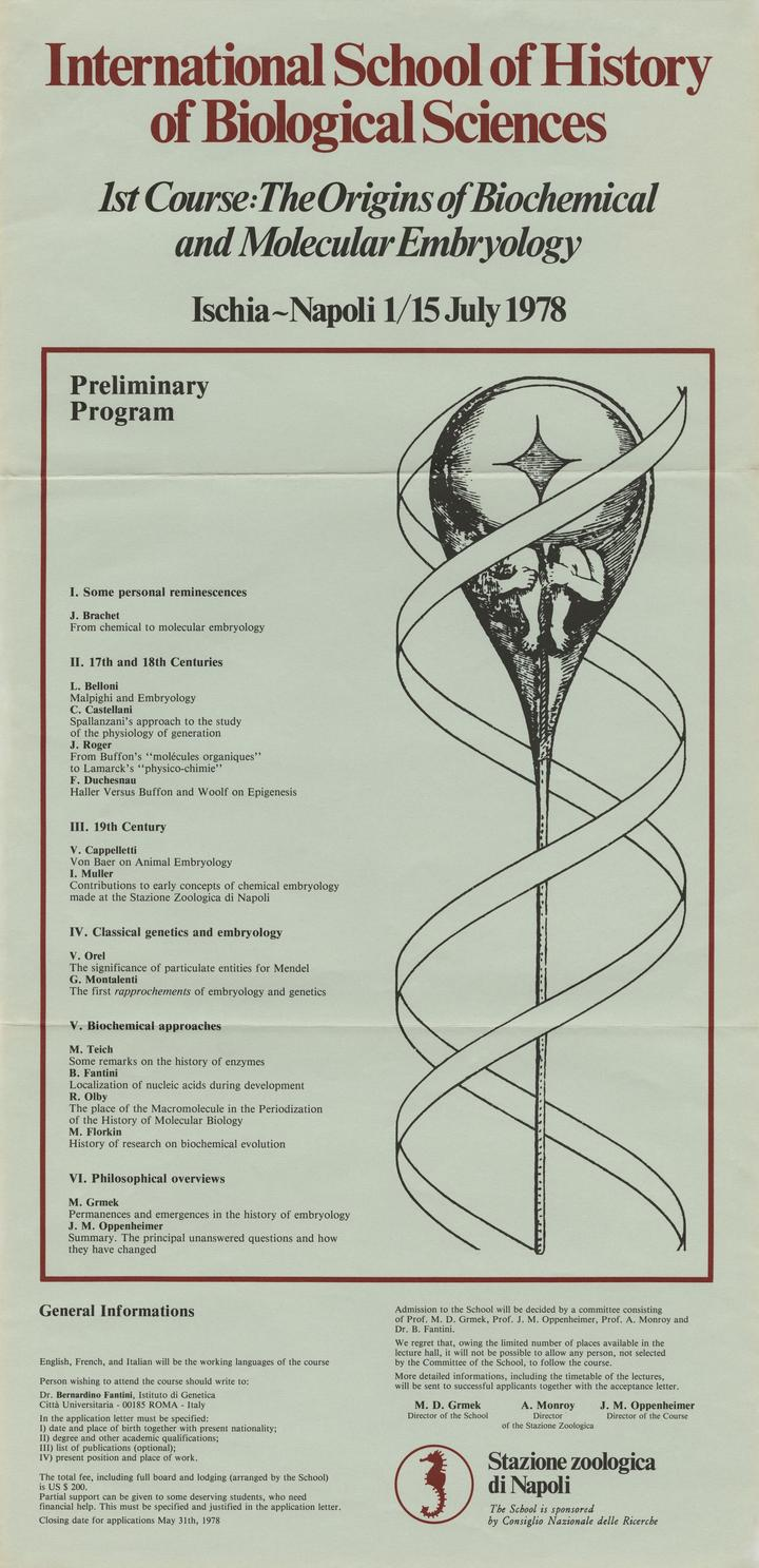 Poster for First Course of the Ischia School of History of Biological Sciences. Image courtesy of the Grmek Collection at the Institute for Contemporary Publishing Archives (IMEC), Caen (France).