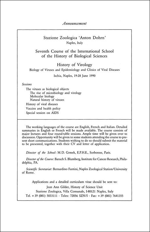 1989 Announcement of 7th Ischia Summer School. HPLS, 11(1)