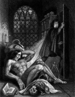 Frontispiece by Theodor von Holst to the 1831 edition of Frankenstein