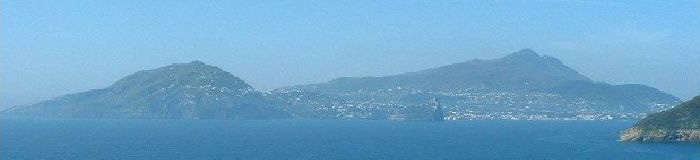 Ischia seen from Procida. Photo courtesy of Wikimedia user Retaggio.
